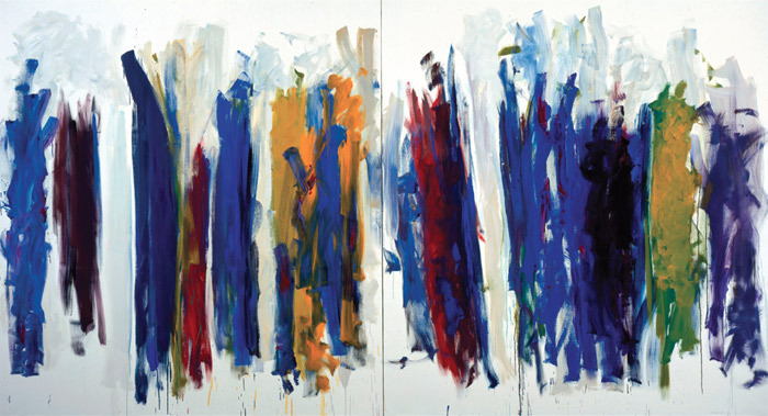 "Joan Mitchell, Trees, 1990–91, diptych, oil on canvas, overall 7' 2 3/4"" x 13' 1 1/2""."