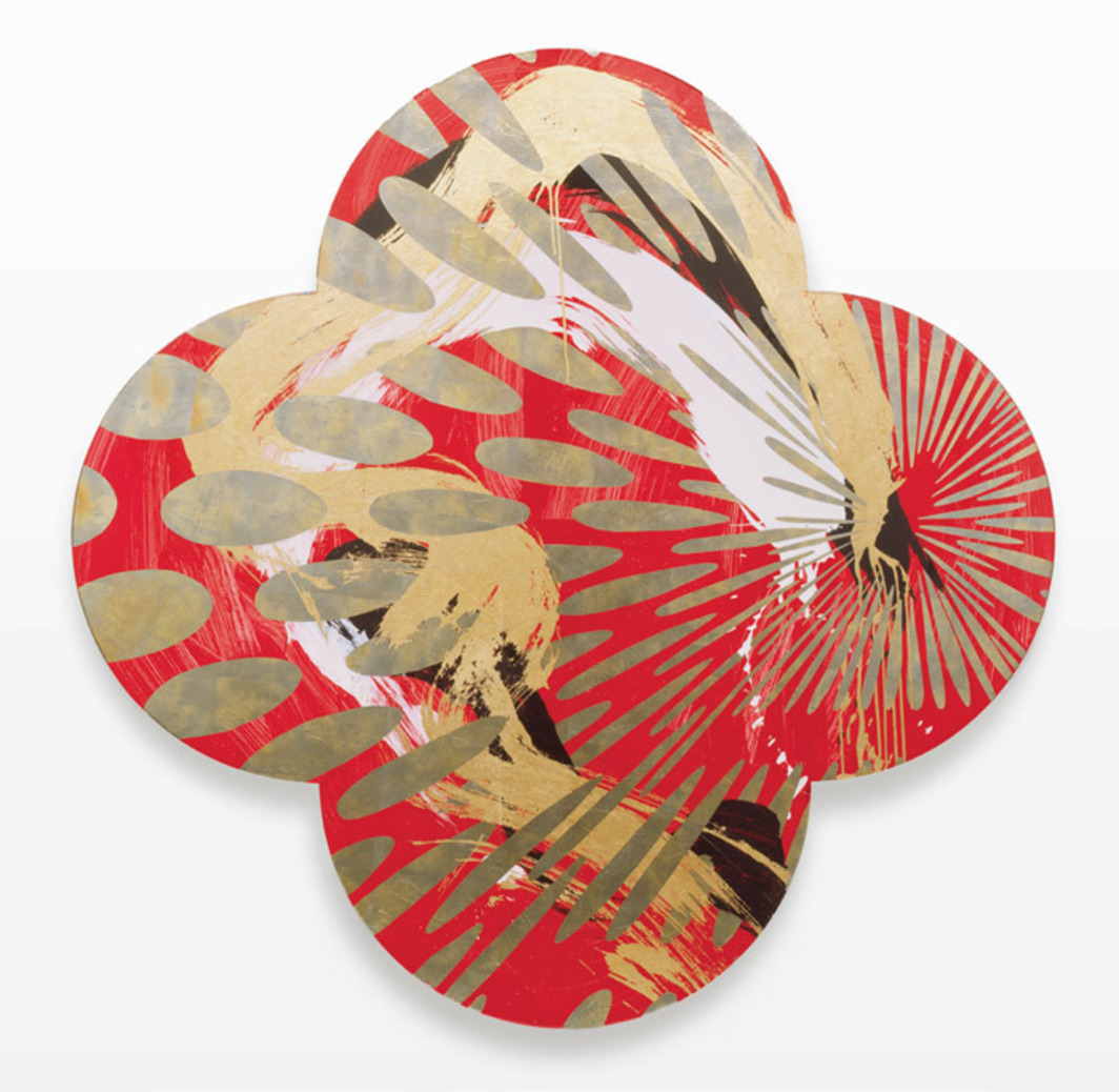 "Max Gimblett, The Holy Grail, 2009, mixed media on canvas, 90 x 90""."