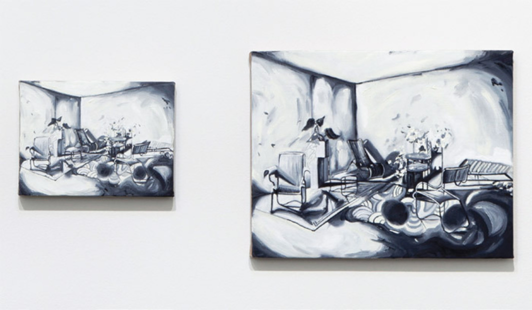 "Jeanette Mundt, Living Room (1–4) (detail), 2012, four oil on linen paintings; pictured: 9 x 12"" and 16 x 20""."