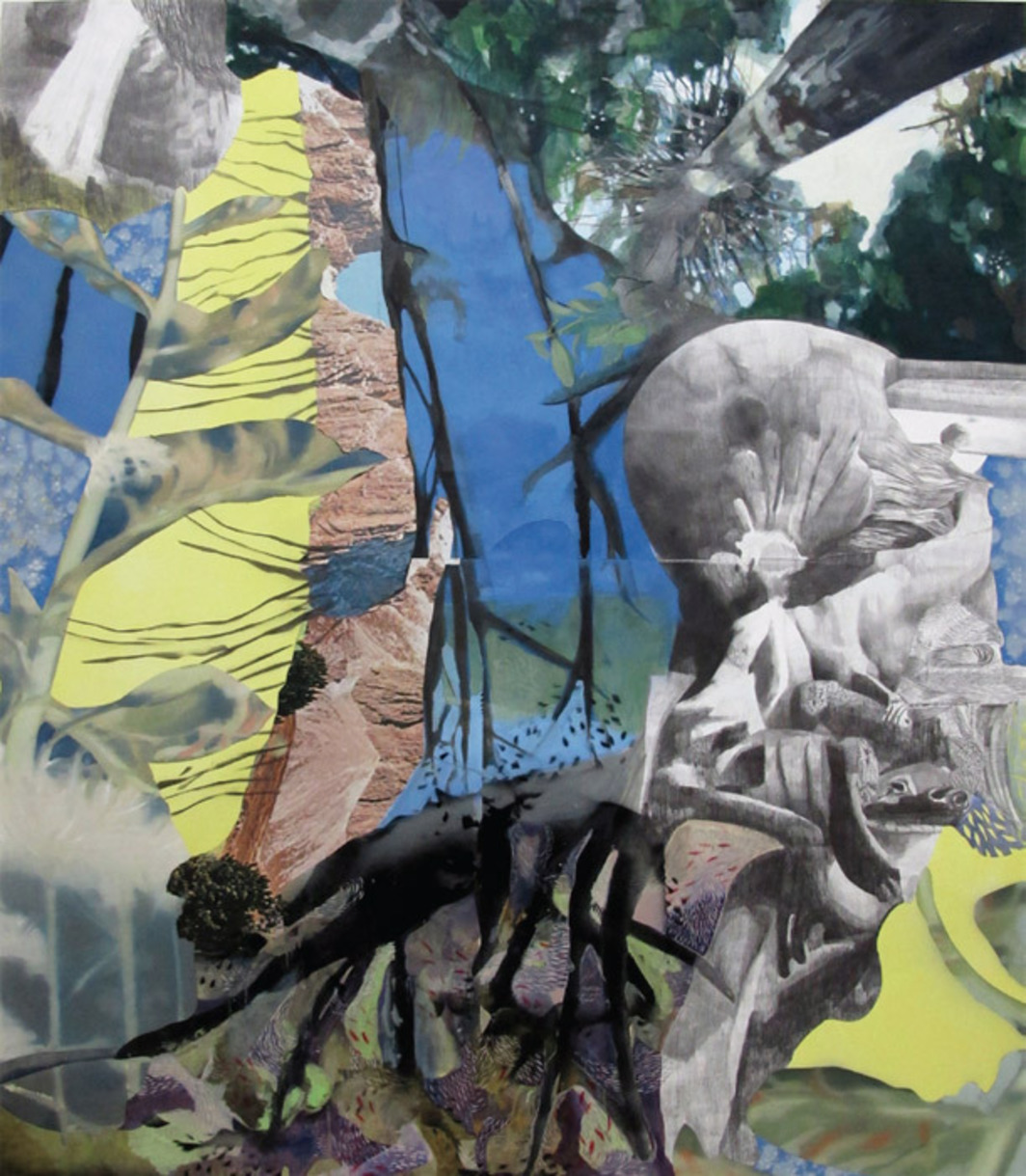 "Alessandro Roma, Il sole mi costrinse ad abbandonare il giardino (The Sun Forced Me to Abandon the Garden), 2011, oil, spray, graphite, and collage on canvas, 82 5/8 x 70 7/8""."