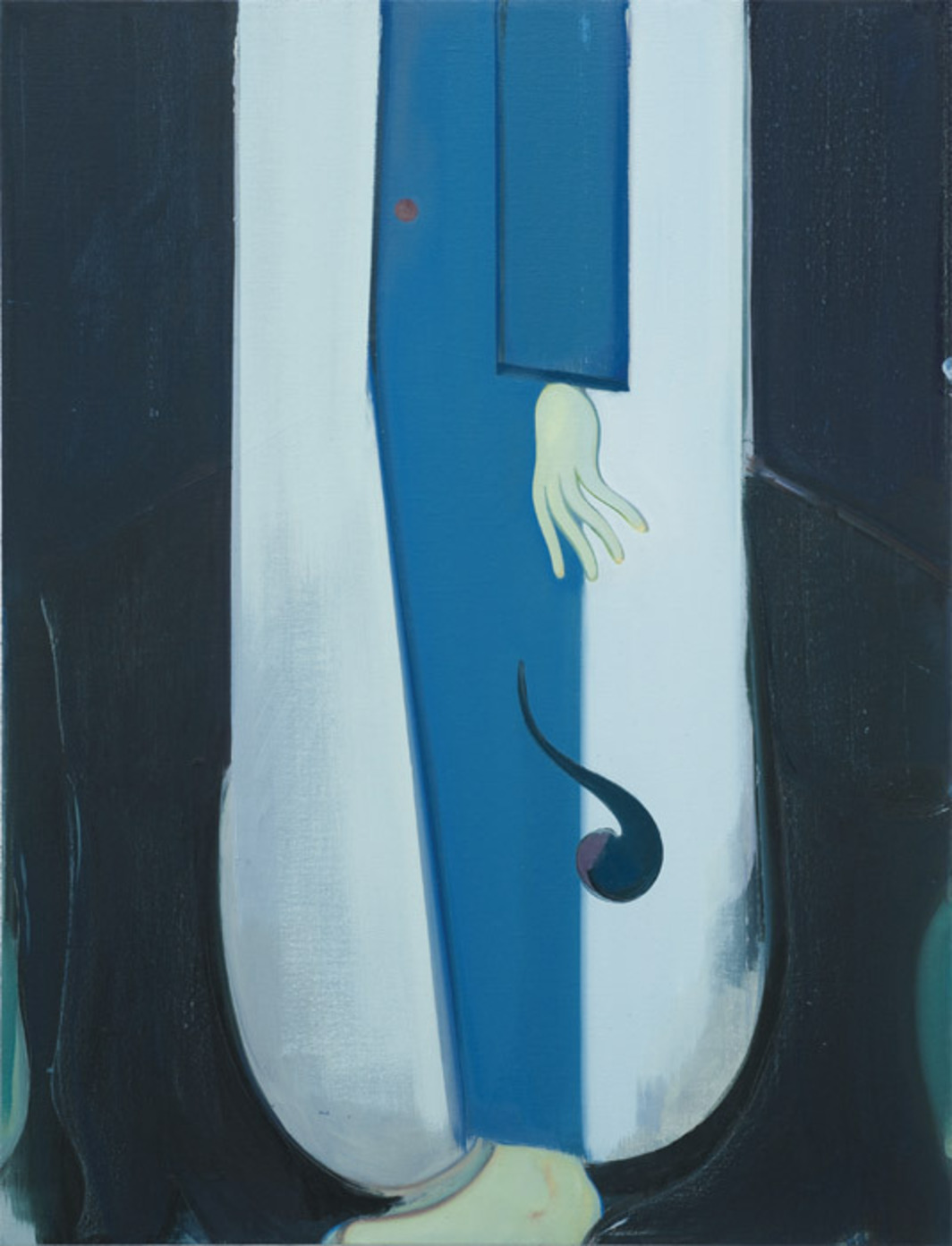 "Sanya Kantarovsky, The Man with the Black Coat, 2012, oil and watercolor on linen, 34 x 26""."