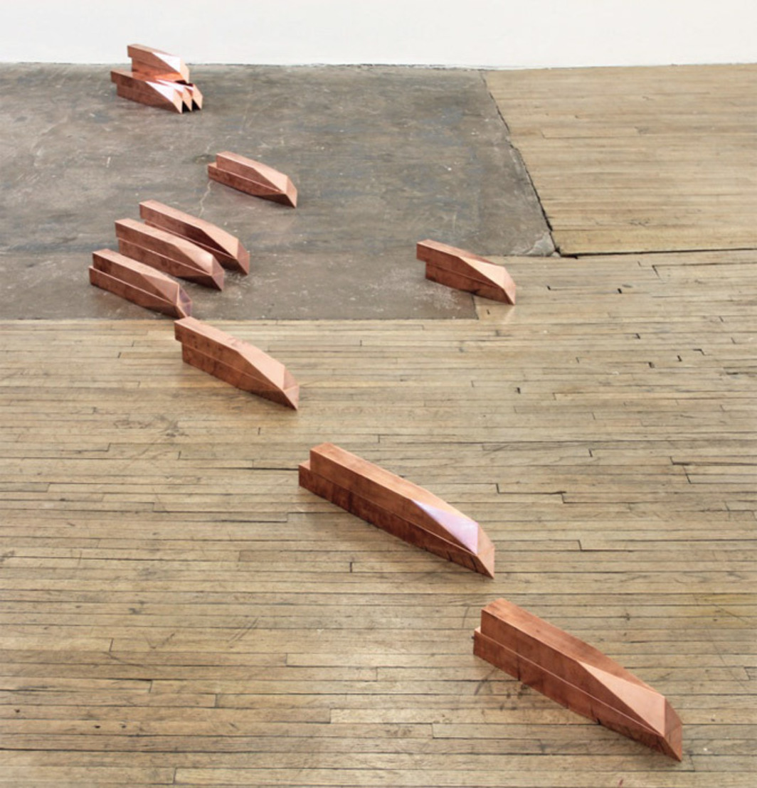 Lucy Skaer, Harlequin's Ingots (detail), 2012, copper, twenty-four parts, dimensions variable.