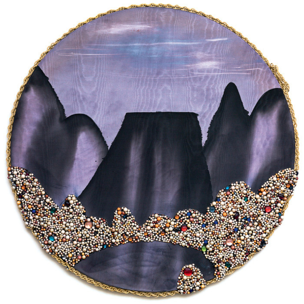 Arch Connelly, Culture and Landscape, 1985, acrylic, faux pearls, and chain on silk, 