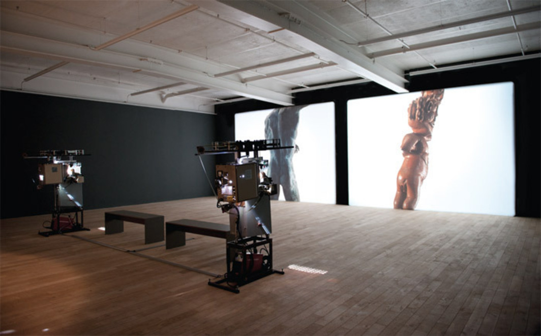 Javier Téllez, Rotations (Prometheus and Zwitter), 2011, two 35-mm film projections, 7 minutes each. Installation view.
