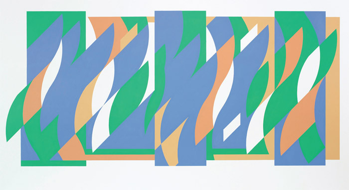 "Bridget Riley, Arcadia 3, 2009/2011, graphite and acrylic on wall, 5' 7 3/4"" x 12' 3""."