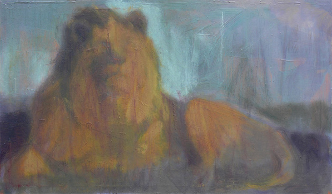 "Simon Cantemir Hausì, Lion MGM, 2009–11, oil on canvas, 23 5/8 x 39 3/8""."