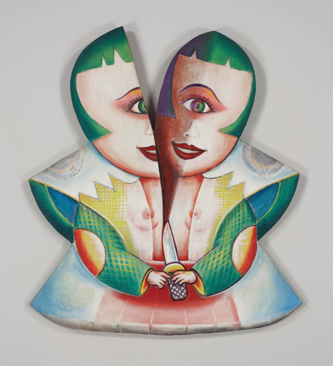 "E'wao Kagoshima, Libidoll No. 1, 1985, oil on shaped canvas, 48 x 42 x 2 1/2""."
