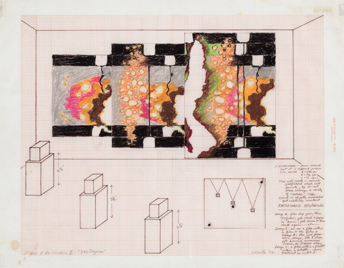 "Paul Sharits, Study A for Location X: ""3rd Degree,"" 1982, mixed media on vellum, 18 x 23""."