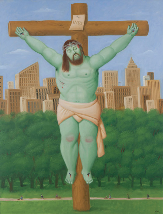 "Fernando Botero, Crucifixion, 2011, oil on canvas, 81 1/8 x 59""."