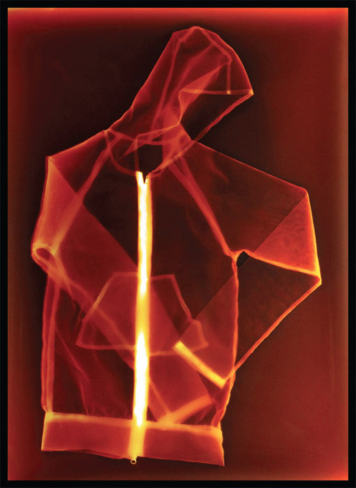 "Farrah Karapetian, Accessory to Protest 4 (Red Hoodie), 2011, chromogenic photogram, 47 x 30""."