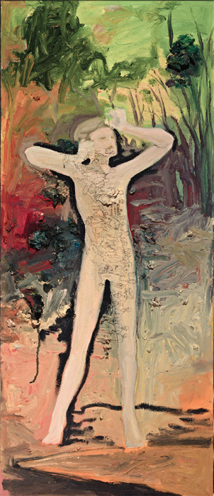 "Jess, ""Danger Don't Advance,"" Salvages IX (last painting), ca. 1990, oil on canvas, 44 x 18 3/4"". From the series ""Salvages,"" ca. 1970–94."