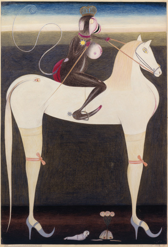"Friedrich Schröder-Sonnenstern, Der Mondamtsschimmelreiter (The Moon Rider Official on a White Horse), 1956, colored pencil on cardboard, 28 3/4 x 20""."
