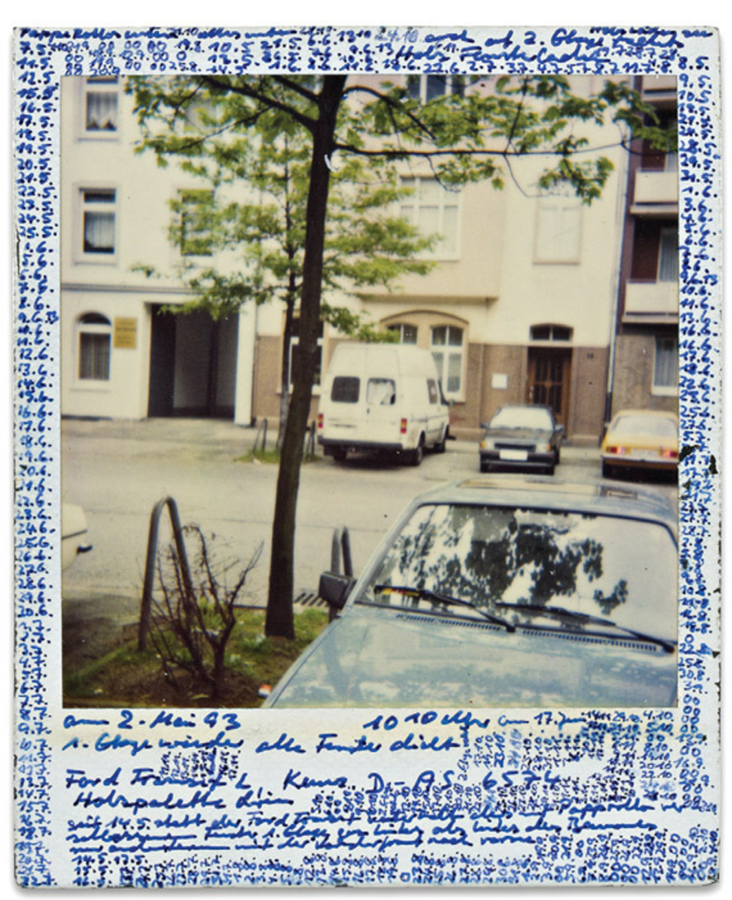 "Horst Ademeit, Untitled, 1993, mixed media on Polaroid, 4 1/4 x 3 1/2"". From the series Observationsbilder"" (Observation Images), 1990–2004."