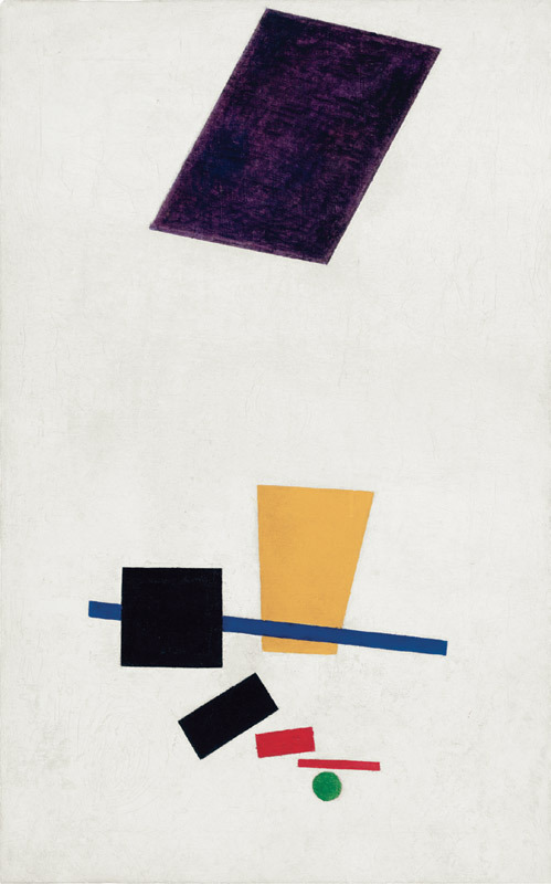 "Kasimir Malevich, Painterly Realism of a Football Player— Color Masses in the 4th Dimension, 1915, oil on canvas, 27 1/2 x 17 3/8""."