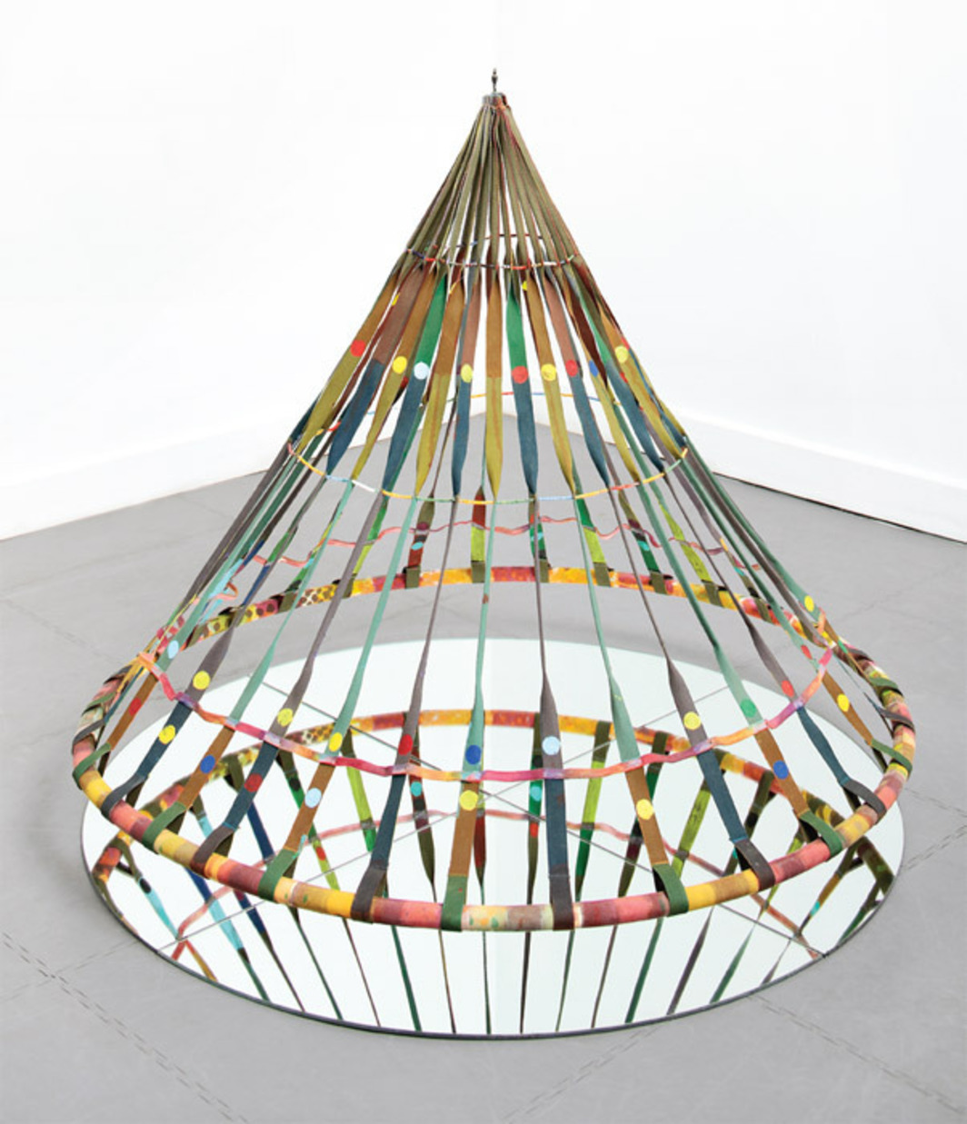 "Alan Shields, Dance Bag, 1985, acrylic, canvas, glass beads, thread, aluminum tubing, mirror, 40 x 48 x 48""."