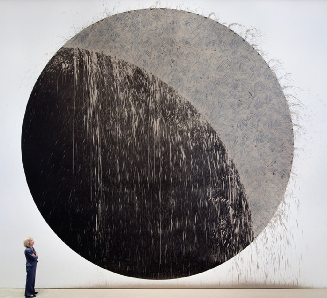 Richard Long, River Avon Mud Crescent, 2011, paint and River Avon mud, 27 x 27'.