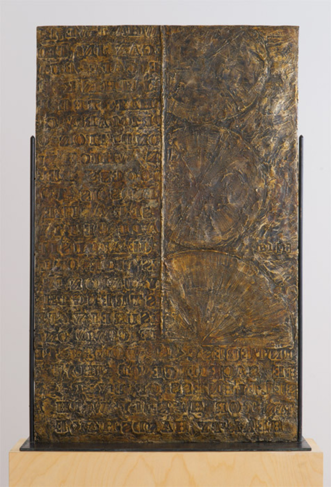 "Jasper Johns, Fragment of a Letter, 2009, bronze, 38 5/8 x 24 3/8 x 1/2""."