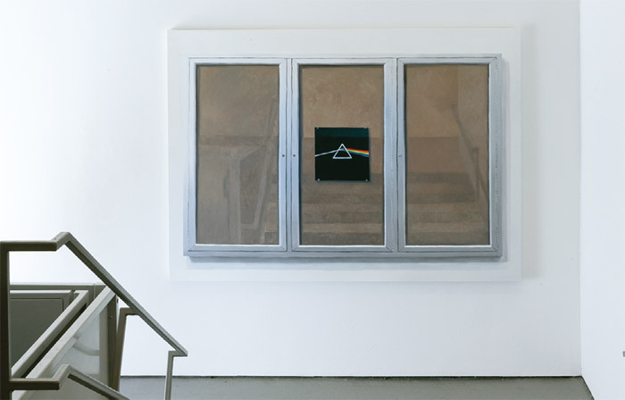 Cynthia Daignault, White Columns Bulletin Board: 'There is no dark side of the moon really. Matter of Fact it's all dark,' 2011, oil on linen. Installation view.
