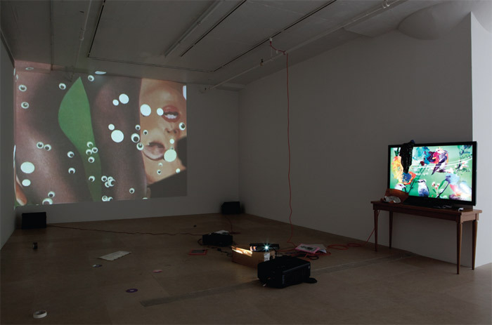 "Trisha Baga, Peacock, 2011, video installation with mixed media, 14 minutes. From ""Hasta Mañana."""