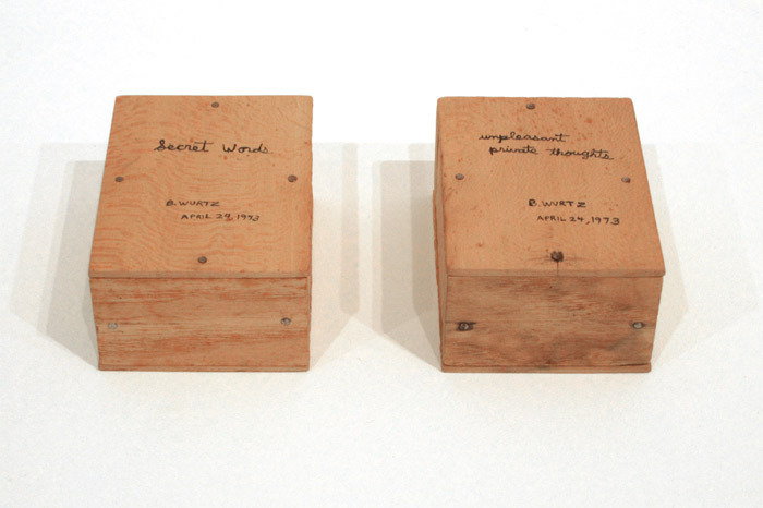 "B. Wurtz, Unpleasant Private Thoughts and Secret Words, 1973, mixed media, each box 2 x 4 x 3""."