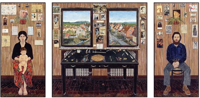 "Simon Dinnerstein, The Fulbright Triptych, 1971–74, oil on wood panel, overall 14' x 6' 7 1/2""."