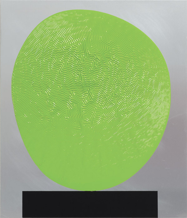 "David Batchelor, Green (ali) 04.04.11, 2011, gloss paint on composite aluminum board, 23 3/4 x 20 3/8""."