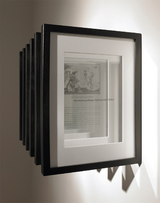 "Jeronimo Voss, Invitation (Воссmанuе рыбаков) (Invitation [Revolt of the Fishermen]), 2011, six laser prints on film foil, theater lights, passe-partout, 17 x 11 3/4 x 13""."