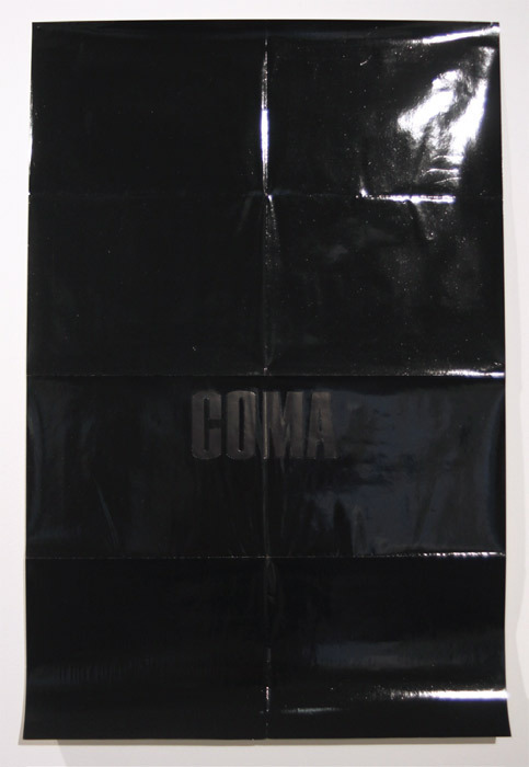 "Bobbi Woods, COMA (You look like you've seen a ghost.), 2011, enamel on poster, 41 x 27""."