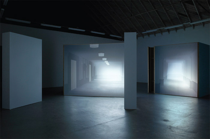 Karina Nimmerfall, Double Location (The Ambassador Hotel), 2008/2011, sculptural three-channel video installation, mixed media. Installation view.