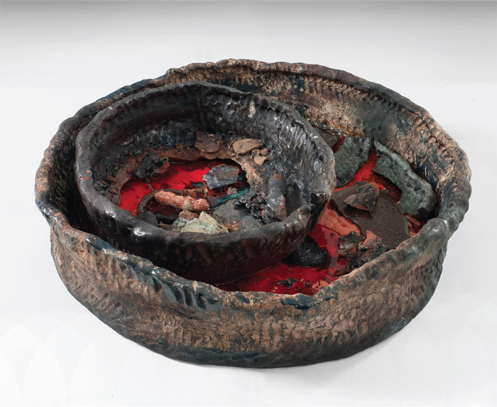 "Sterling Ruby, Basin Theology/Double Basin, 2011, ceramic, 8 x 37 x 38"". From the series ""Basin Theology,"" 2009–."