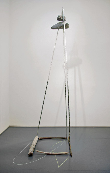 "Ian Pedigo, The Trails of Animals and Other Inanimate Things, 2011, found metal electrical conduit, driftwood, white paint, black paint, black granite, ferrous slate, white chalk, yellow chalk, cable, hardware, 120 x 45 x 48""."