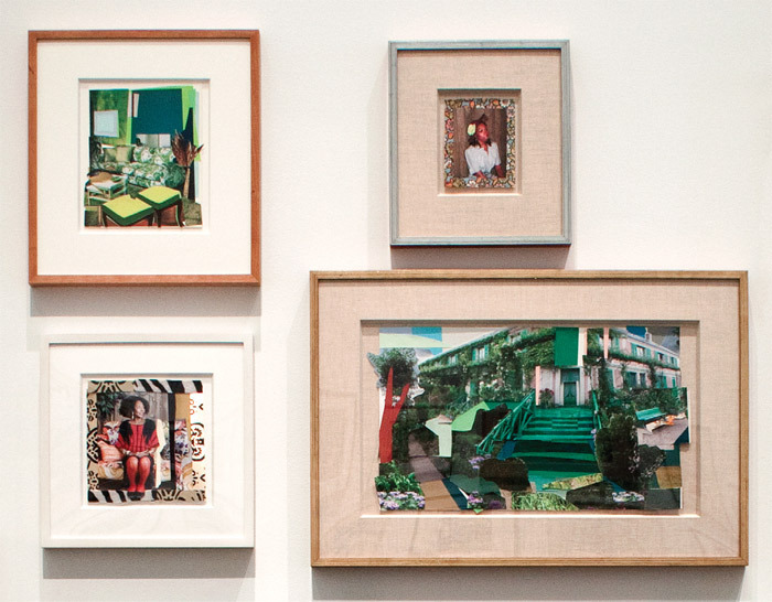 "View of ""Mickalene Thomas,"" 2011. Clockwise from top left: Interior: Green and White Couch, 2011; Portrait of Tiffona, 2008; La Maison de Monet, 2011; Sandra: She's a Beauty, 2009."