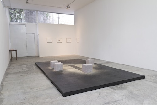 "View of ""El instinto olvidado,"" 2013. Foreground: Francisco Tropa, Quad, 2008. Background: William Anastasi, untitled, 2010."