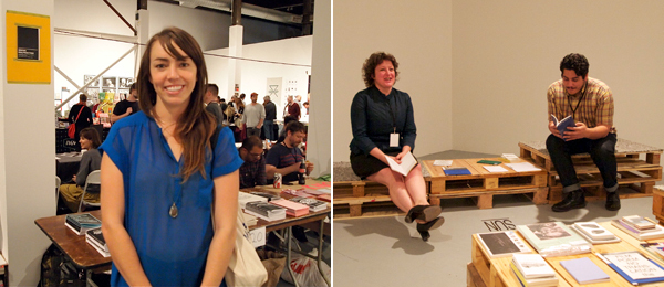 "Left: Sarah Williams, cofounder of the Art Book Review. Right: Werkplaats Typografie director Anja Wittels inside Werkplaats's ""Books on Air"" reading room."