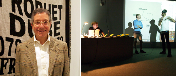 Left: LA MoCA director Jeffrey Deitch. Right: Sean Monahan (left) and n+1 senior editor Christopher Glazek (middle).