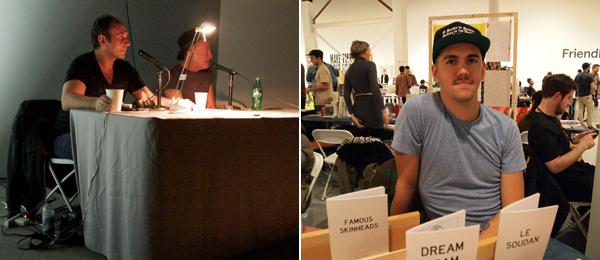 Left: Anton Vidokle in conversation with Sylvère Lotringer. Right: Artist Adam Villacin at his table in Zine World.