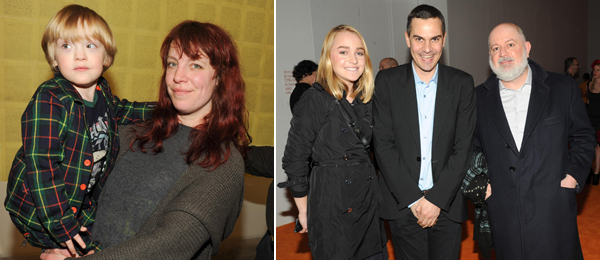 Left: Artist Alex Bag. Right: Victoria Nicholson, New Museum associate director Massimiliano Gioni, and dealer Massimo De Carlo. (Photos: Neil Rasmus/BFAnyc.com)