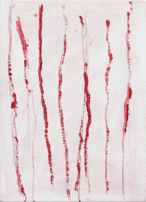 "Raoul De Keyser, No Title (8 Verticals/6), 2010, oil on canvas mounted on wood, 11 x 8""."