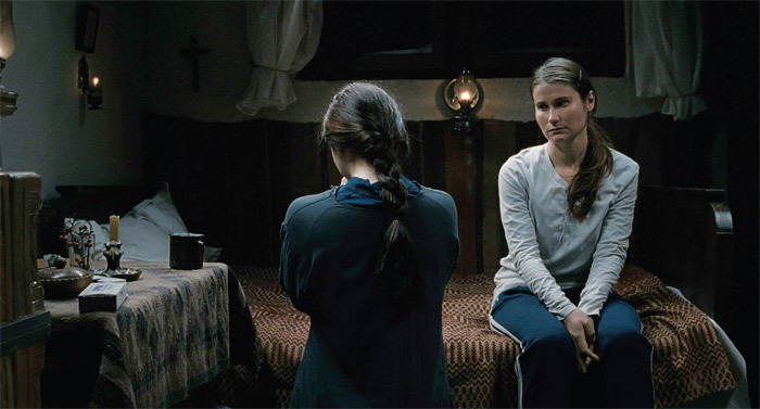 Cristian Mungiu, Beyond the Hills, 2012, 35 mm, color, sound, 150 minutes. Voichita (Cosmina Stratan) and Alina (Cristina Flutur).