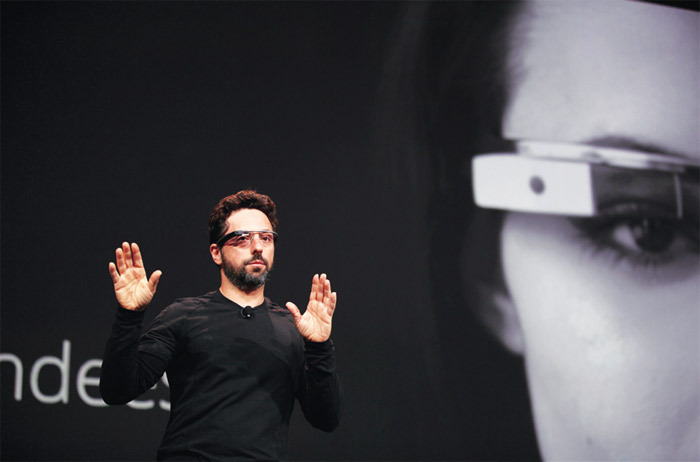 CEO and cofounder of Google Sergey Brin wearing a Google Glass during a product demonstration for Google I/O 2012, Moscone Center, San Francisco, June 27, 2012. Photo: Stephen Lam/Reuters.