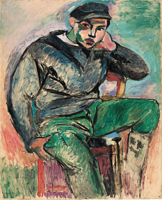 "Henri Matisse, Young Sailor I, 1906, oil on canvas, 39 1/4 x 32""."