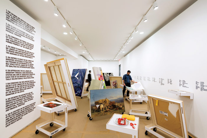 "View of ""No Longer Art: Salvage Art Institute,"" 2012–13, Arthur Ross Architecture Gallery, Columbia University, New York. Photo: James Ewing."