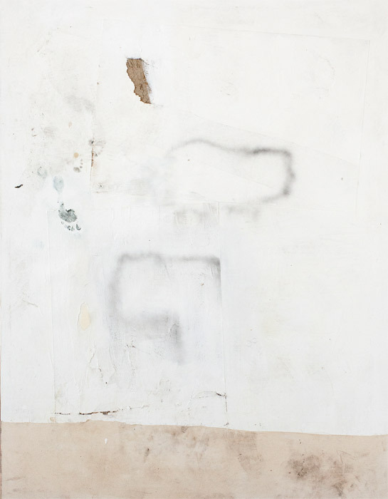 "David Ostrowski, F (Auch die schönste Frau ist an den Füßen zu Ende, Allison's feet) (F [Even the Most Beautiful Woman Ends at Her Feet, Allison's Feet]), 2012, acrylic, lacquer, cotton, and paper on canvas, wood, 87 x 671⁄4""."