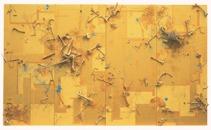 "Lin Tianmiao, The Golden Mean, 2012, gold silk on panel, synthetic resin bones wrapped in gold thread, 15' 5 3/4"" x 6' 6 3/4""."
