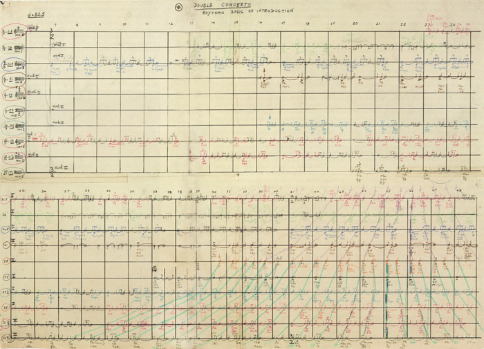 Rhythm chart for Elliott Carter's Double Concerto for Harpsichord, Piano, and Two Orchestras, 1959–61.
