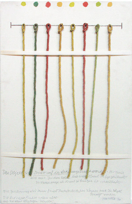 "Jan Kotik, Untitled (Guide for Realization), 1976, string, nails, chalk, acrylic, wooden plate, 35 1/2 x 25 1/2""."