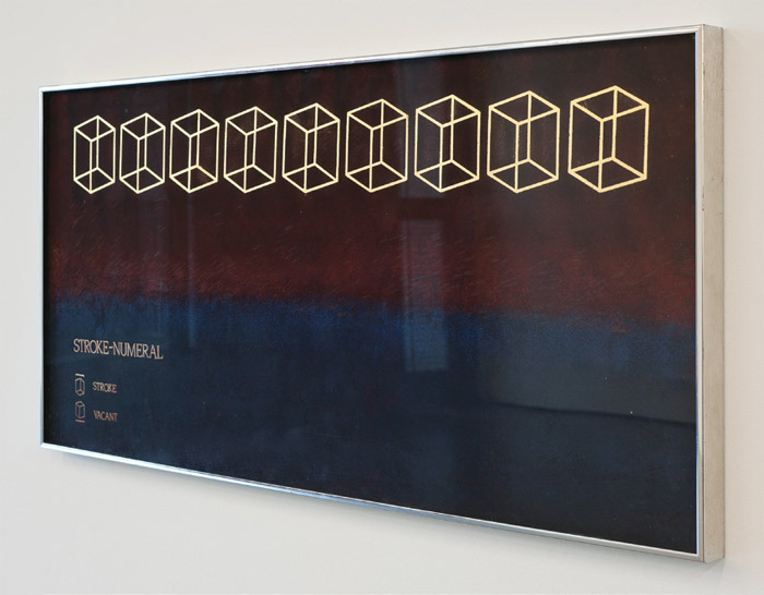 "Henry Flynt, Stroke Numeral, 1987, gold and acrylic on aluminum, metal frame, 19 x 41 1/2""."