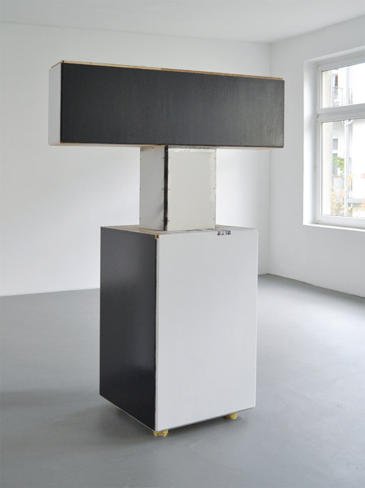 "Manfred Pernice, Der 4. Roland, 2012, wood, 82 5/8 x 29 x 59 7/8""."