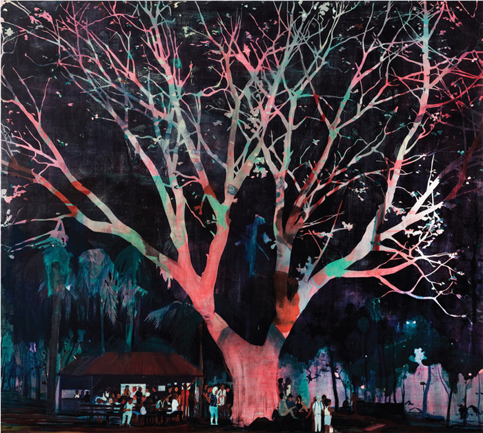 "Jules de Balincourt, Waiting Tree, 2012, oil and acrylic on panel, 78 x 87""."