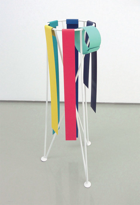 "Tula Plumi, Untitled, 2012, spray paint on metal sheet, painted flowerpot stand, 31 1/2 x 9 7/8 x 10 5/8"". From the series ""Lines and Circles,"" 2011–."
